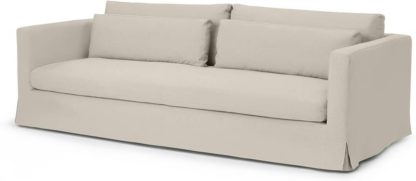 An Image of Arabelo 4 Seater Loose Cover Sofa, Natural Cotton & Linen Mix Fabric
