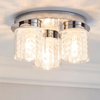 An Image of Hylton 3 Light Glass Bathroom Flush Ceiling Fitting Clear