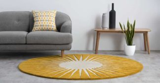 An Image of Vaserely Round Wool Rug, Large 200cm, Mustard