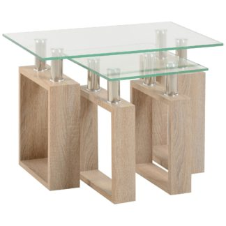 An Image of Milan Glass Top Nest of Tables Natural