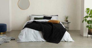 An Image of Julius Quilted Velvet Bedspread, 225 x 220cm, Black