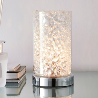 An Image of Adela Pad Chrome Touch Dimmable Table Lamp Chrome