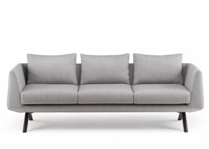 An Image of De La Espada Matthew Hilton Hepburn Sofa Black Oiled Walnut Grey Canvas 124