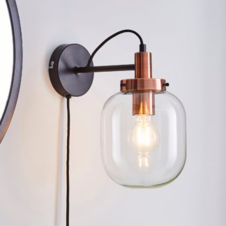 An Image of Dayo Easy Fit Wall Light Plug In Clear Clear