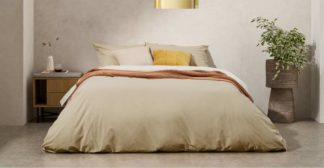 An Image of Solar Reversible Cotton Duvet Cover + 2 Pillowcases, King, Light Ash/Ivory UK
