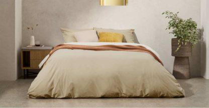 An Image of Solar Reversible Cotton Duvet Cover + 2 Pillowcases, Double, Light Ash/Ivory UK