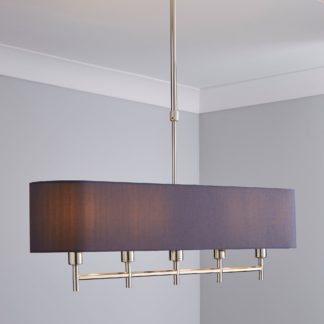 An Image of 5A Edmonton 5 Light Bar Shaded Grey Diner Ceiling Fitting Nickel