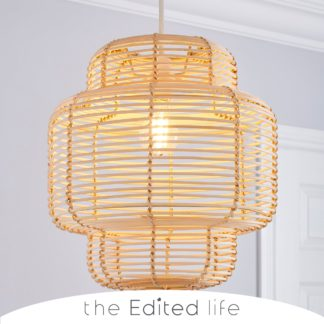 An Image of Wicker Tiered Easy Fit Pendant Natural White