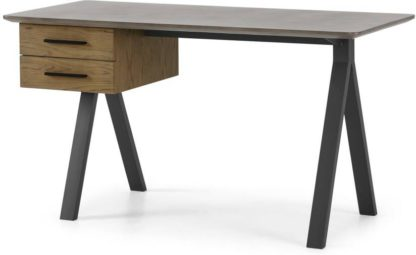 An Image of Sora Storage Desk, Smoaked Oak & Concrete
