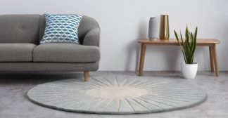 An Image of Vaserely Round Wool Rug, Large 200cm, Grey