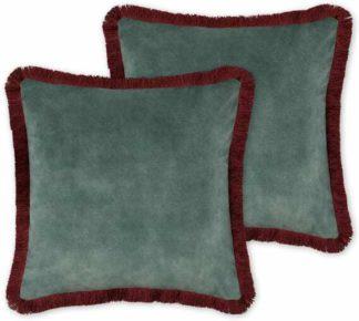 An Image of Kili Set of 2 Fringed Velvet Cushions, 45 x 45cm, Dark Teal & Burgundy
