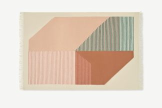 An Image of Firth Cotton Flatweave Rug, Large 160 x 230cm, Pink & Terracotta