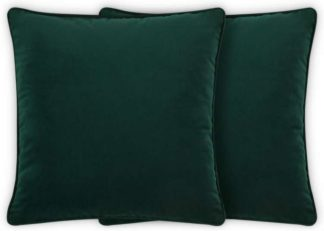 An Image of Julius Set of 2 Velvet Cushions, 59 x 59cm, Forest Green
