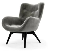 An Image of Doris Accent Armchair, Steel Grey Velvet with Black Wood Leg
