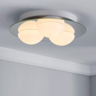 An Image of Harlow 3 Light Frosted Bathroom Flush Ceiling Fitting White