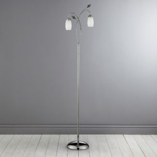 An Image of 2 Light Leaf Glass Floor Lamp Silver