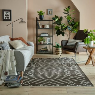 An Image of Journey Wool Rug Black and White