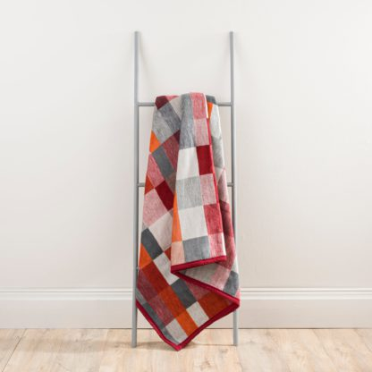 An Image of Thermosoft Orange Geometric Blanket Orange, Red and Grey