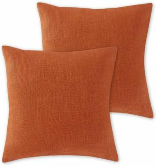 An Image of Adra Set of 2 100% Linen Cushions, 50 x 50cm, Cayenne Red