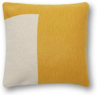 An Image of Portia Knitted Cotton Cushion 45 x 45cm, Mustard