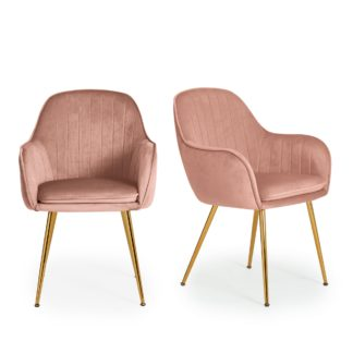 An Image of Laila Set of 2 Dining Chairs Pink