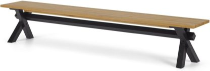 An Image of Bayron 5 Seat Dining Bench, Brushed Oak & Charcoal