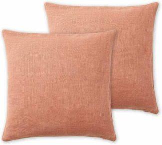 An Image of Adra Set of 2 100% Linen Cushions, 50 x 50cm, Deep Pink