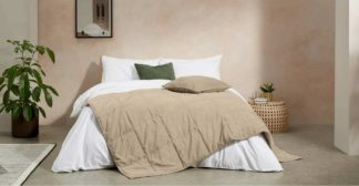 An Image of Selky Bedspread, 125 x 225cm, Soft Taupe