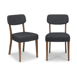 An Image of Farringdon Set of 2 Dining Chairs Grey Linen Grey