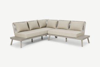 An Image of Alif Garden Corner Lounge Set, Natural White & Eucalyptus