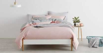 An Image of Solar Cotton Reversible Duvet Cover + 2 Pillowcase, Double, Pink/Grey UK