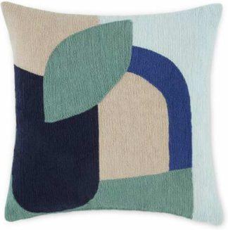 An Image of Lanua Embroidered Cushion, 45 x 45cm, Blue Multi