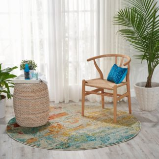 An Image of Celestial Sealife Round Rug Multi-Coloured