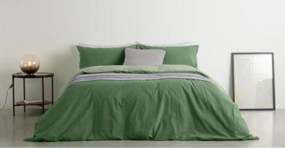 An Image of Solar Cotton Reversible Duvet Cover + 1 Pillowcase, Single, Moss Green/Soft Green