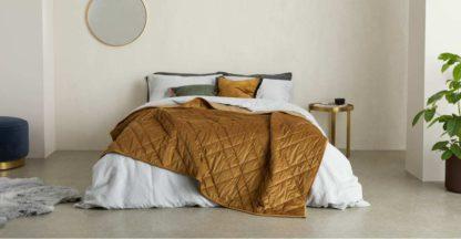 An Image of Sharmini Velvet Bedspread, 225 x 220cm, Dark Ochre