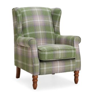 An Image of Oswald Check Wingback Armchair - Green Green, White and Purple