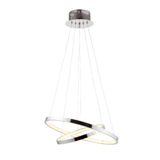 An Image of Endon Kline 2 Light Integrated LED Hoops Ceiling Fitting Chrome