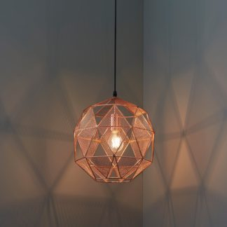 An Image of Endon Armour Copper Pendant Ceiling Fitting Copper