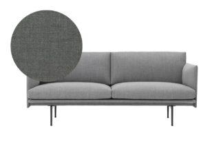 An Image of Muuto Outline 2 Seater Sofa Kvadrat Remix 163 Dark Grey