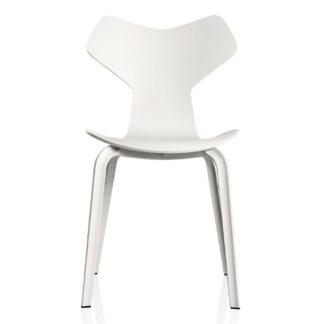 An Image of Fritz Hansen Grand Prix Side Chair 4130 White Ash 105 Wood Legs