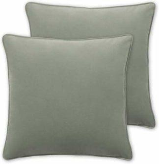 An Image of Julius Set of 2 Velvet Cushions, 45 x 45cm, Soft Green