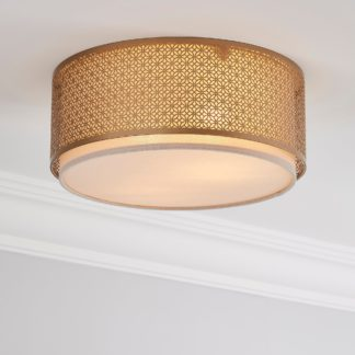 An Image of Vienna Flush Ceiling Fitting Champagne