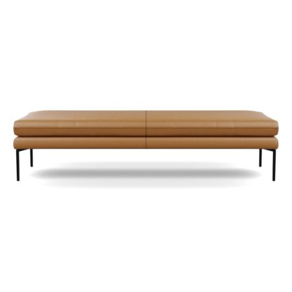 An Image of Heal's Matera Bench 180cm Daino leather Parchment Black Feet