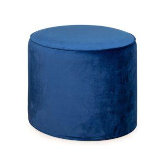 An Image of Heal's Cayo Pouffe Smart Velvet Blue