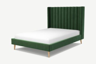 An Image of Custom MADE Cory Double Bed, Lichen Green Cotton Velvet with Oak Legs