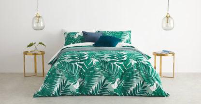 An Image of Jangala Cotton Duvet Cover + 2 Pillowcases King, Green UK