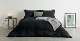 An Image of Brisa 100% Linen Duvet Cover + 2 Pillowcases King Size, Black