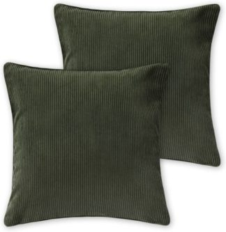 An Image of Selky Set of 2 Corduroy Cushions, 50 x 50cm, Sage Green