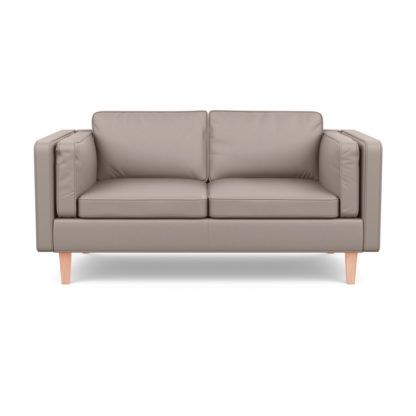An Image of Heal's Chill 2 Seater Sofa Leather Grain Light Grey 060 Natural Feet