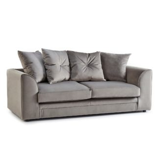 An Image of Blake 3 Seater Grey Velvet Sofa Grey